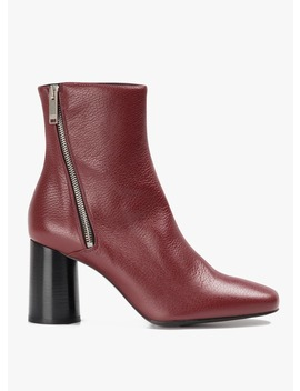 Avril   Bottines à Talons En Cuir  Rouge by Claudie Pierlot