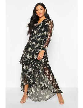 Floral Print Belted Ruffle Maxi Dress by Boohoo