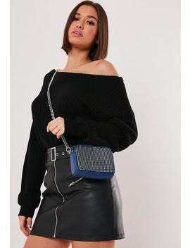 Navy Chainmail Cross Body Bag by Missguided