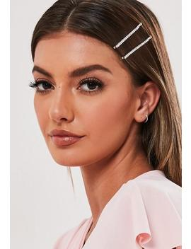 Silver Look Diamante Detail Hair Slides by Missguided