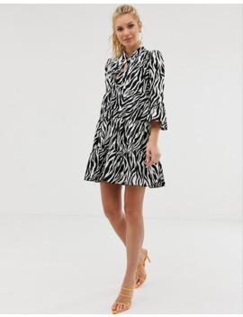 Girl In Mind Zebra Print Smock Dress by Asos