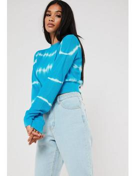 Blue Tie Dye Crop Knitted Jumper by Missguided