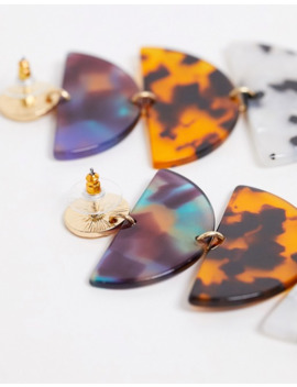 Reclaimed Vintage Inspired Mix Tort Marble And Gold Hanging Earring by Reclaimed Vintage Inspired