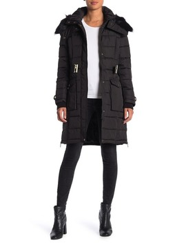 Faux Fur Belted Hoodie Puffer Jacket by French Connection