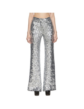 Silver Sequin Stovepipe Trousers by Halpern