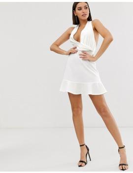 Asos Design Halter Mini Dress With Pephem by Asos Design