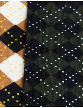 Selected Homme 2 Pack Argyle Print Socks In Multi by Selected Homme