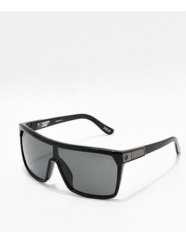 Spy Flynn Black Gloss, Matte Black, Grey Green Happy Lens Sunglasses by Spy