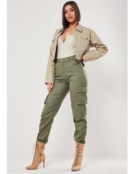 Cream Faux Croc Cropped Jacket by Missguided