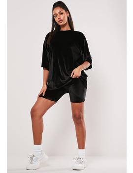 Black Velvet T Shirt Cycling Short Co Ord Set by Missguided