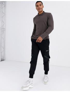 Asos Design Organic Long Sleeve Jersey Polo In Brown by Asos Design