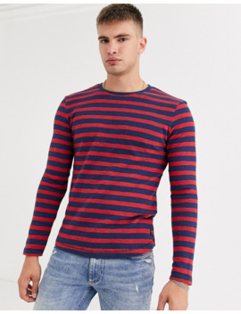 Tom Tailor Stripe Long Sleeve Top In Navy by Tom Tailor