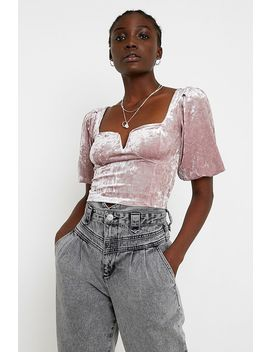 Uo Velvet Puff Sleeve Bustier Blouse by Urban Outfitters