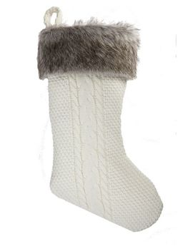 Canvas Cable Knit Fur Stocking by Canadian Tire