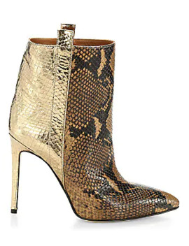Metallic Snakeskin Print Leather Stiletto Booties by Paris Texas