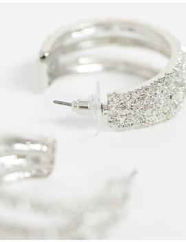 Asos Design Hoop Earrings In Triple Row Texture In Silver Tone by Asos Design