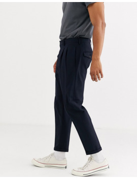 Selected Homme Slim Fit Tapered Smart Trousers In Navy by Selected Homme