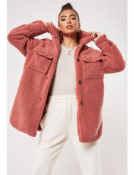 Pink Borg Teddy Long Oversized Trucker Jacket by Missguided