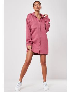 Pink Fleeceback Shirt Dress by Missguided
