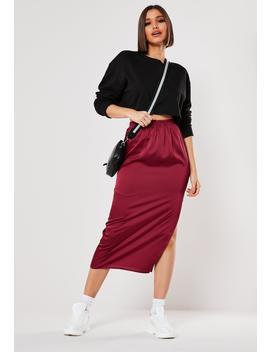 Burgundy Satin Slip Midi Skirt by Missguided