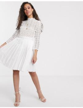 Little Mistress Petite Mini Length 3/4 Sleeve Lace Dress In White by Little Mistress'