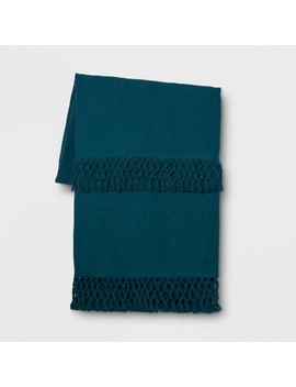 Teal Macrame Trim Oversized End Of Bed Throw   Opalhouse™ by Opalhouse