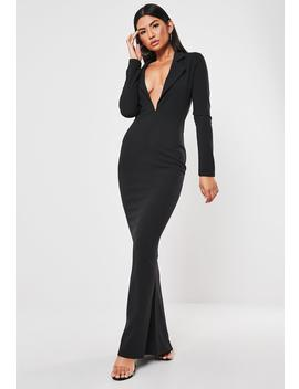 Black Tuxedo Style Fishtail Maxi Dress by Missguided