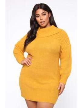 One Cozy Day Mini Dress   Mustard by Fashion Nova