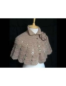 Hand Knit Shawl Beige Shawl Wool Cream Capelet Wool Shawl Knitted Capelet Wool Knit Bolero Crochet Capelet Woolly Cape by Etsy