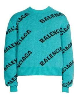 Cropped Wool Logo Sweater by Balenciaga