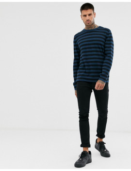 Only &Amp; Sons Crew Neck Knitted Jumper In Blue Stripe by Only & Sons