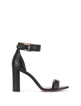 Stella Black Buckle Block Heel by Mint Velvet