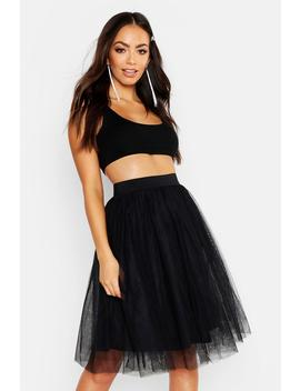 Full Tulle Mesh Midi Skirt by Boohoo