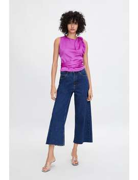Satin Top With Tied Detail by Zara