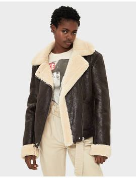 Double Faced Jacket With Faux Shearling by Bershka