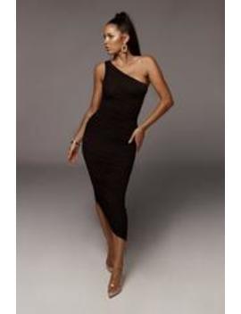 Black Lola One Shoulder Ruched Dress by Jluxlabel