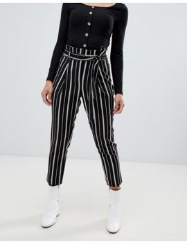 New Look Petite   Pantalon à Rayures   Noir by New Look Petite