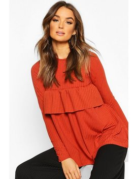 Rib Ruffle Detail Smock Top by Boohoo
