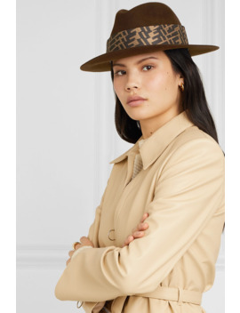 Printed Silk Twill Trimmed Rabbit Felt Fedora by Fendi