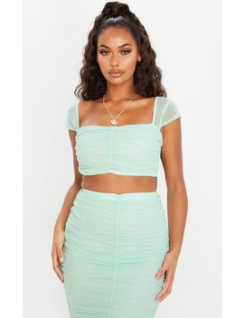 Mint Mesh Ruched Front Crop Top by Prettylittlething