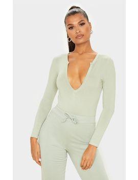 Sage Khaki Basic Plunge Long Sleeve Bodysuit by Prettylittlething