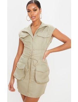 Sage Khaki Sleeveless Utility Lace Up Bodycon Dress by Prettylittlething