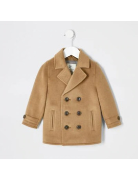 Mini Boys Camel Brown Peacoat by River Island
