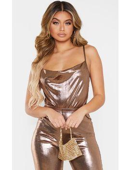 Bronze Metallic Cowl Neck Bodysuit  by Prettylittlething