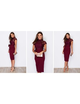 Lyla High Neck Lace Top Midi Dress Berry by Girl In Mind