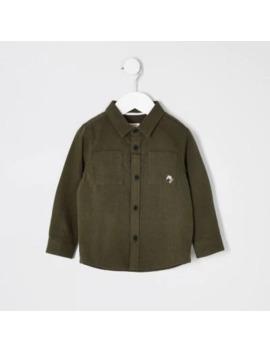 Mini Boys Khaki Long Sleeve Utility Shirt by River Island