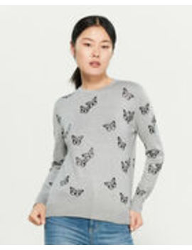 Grey & Black Butterfly Long Sleeve Sweater by Chee Cho