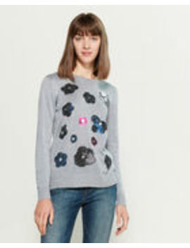 Sequin Lurex Floral Long Sleeve Sweater by Chee Cho