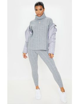 Grey Cable Knit Roll Neck And Legging Set by Prettylittlething