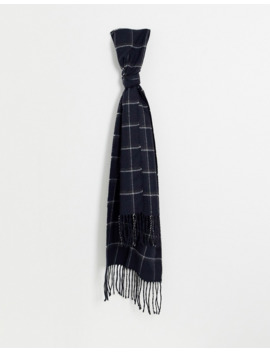 Moss London Scarf In Navy Windowpane Check by Moss London